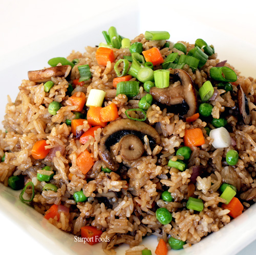 VEG MASHROOM ONION FRIED RICE